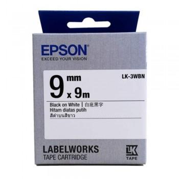 Epson LK-3WBN LabelWorks Tape - 9mm Black on White Tape (Item no: EPS LK-3WBN)