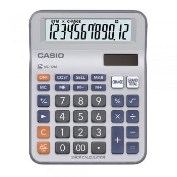 Casio Mini Desk Type Shop Calculator - 12 Digits, Cost/Sell/Margin, Solar & Battery (MC-12M)