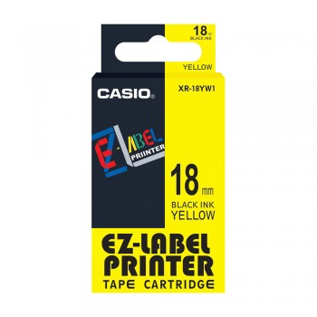 Casio Ez-Label Tape Cartridge - 18mm, Black on Yellow (XR-18YW1)