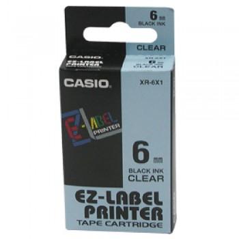 Casio Ez-Label Tape Cartridge - 6mm, Black on Clear (XR-6X1)