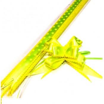 Pull Flower Ribbon Cotton 23mm Yellow Green (10 pcs)