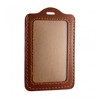 Leather Name Tag Potrait Brown (54x85mm)
