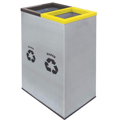 Rectangular Recycle Bins c/w Stainless Steel Body & Powder Coating  Cover-RECYCLE-138/SS (Item No: G01-294)