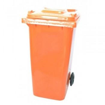 Mobile Garbage Bins 120-PEDAL (with Foot Pedal) Orange (Item: G01-67)
