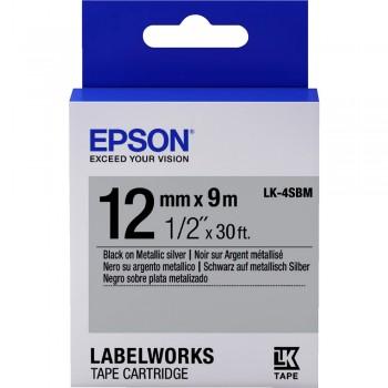 Epson Label Cartridge 12mm Black on Silver Tape (Metallic) LK 4SBM