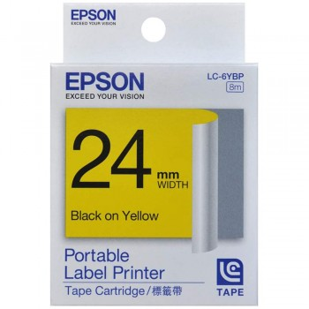 Epson 24mm x 8m Black on Yellow Tape C53S6 (Item no:EPS LK-6YBP)