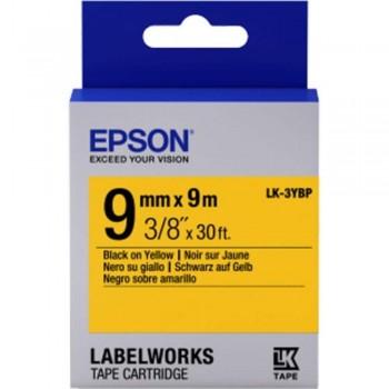 Epson LK-3YBP LabelWorks Tape - 9mm Black on Yellow Tape (Item No: EPS-LK-3YBP)