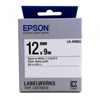 Epson LK-4WBQ  LabelWorks Tape - 12mm Black on White Tape (Item no: EPS LK-4WBQ)