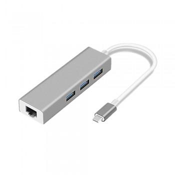 Type-C to USB Hub 3.0 x 3 LAN (RJ45)