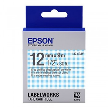 Epson Label Cartridge 12mm Gray on Blue Check Tape