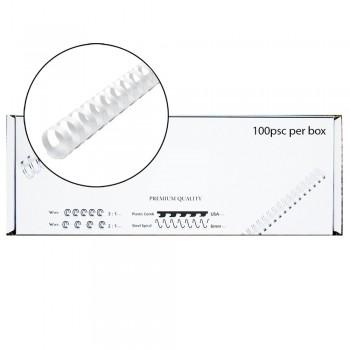 M-Bind Plastic Binding Comb - 18mm x 21 Ring, 100pcs/box, White