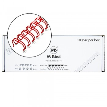 """M-Bind Double Wire Bind 3:1 A4 - 3/8""""(9.5mm) X 34 Loops, 100pcs/box, Red"""