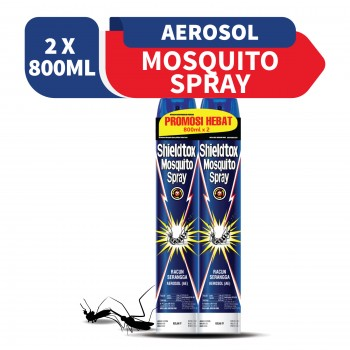 Shieldtox Mosquito Spray Aerosol Twin Pack (800ml x 2)