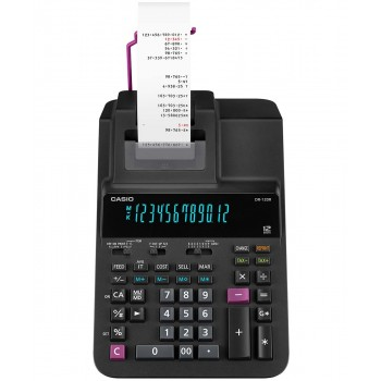 Casio Printing Calculator - 12 Digits, 2-Color Printing, Tax Calculation, Black (DR-120R-BK)