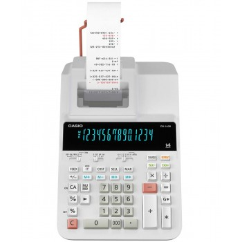 Casio Printing Calculator - 12 Digits, 2-Color Printing, Tax Calculation, White (DR-120R-WE)