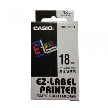 Casio Ez-Label Printer Tape Cartridge - 18mm, Black on Silver (XR-18SR1)