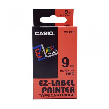 Casio Ez-Label Tape Cartridge - 9mm, Black on Red (XR-9RD1)
