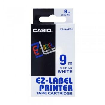 Casio Ez-Label Tape Cartridge - 9mm, Blue on White (XR-9WEB1)