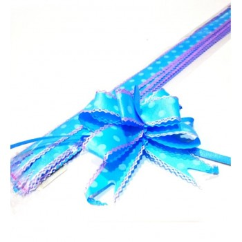 Pull Flower Ribbon Cotton 23mm Blue (10 pcs)
