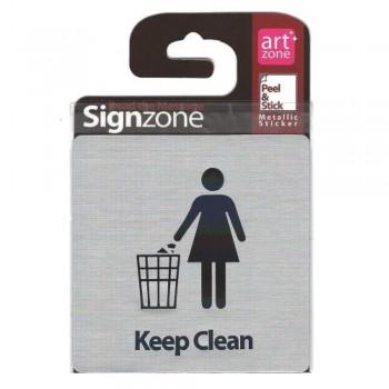 Signzone Peel & Stick Metallic Sticker - Keep Clean (Item No: R01-28)