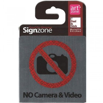 Signzone Peel & Stick Metallic Sticker - NO Camera & Video (Item No: R01-47)