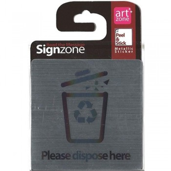 Signzone Peel & Stick Metallic Sticker - Please dispose here (Item No: R01-29)