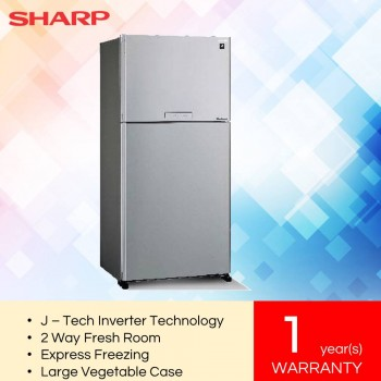 Sharp SHP-SJP60MFMS Pelican Metal Silver 2-Door J-Tech Inverter Series Refrigerator (610L)