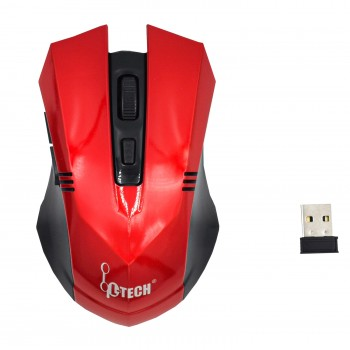 L-TECH Wireless Mouse Model 102 - RED - 2.4GHz Wireless, Operating Distance Up To 10m, 6-Key Optical Mouse 6D, 1600 DPI, Compact Ergonomic Design - WM-102R